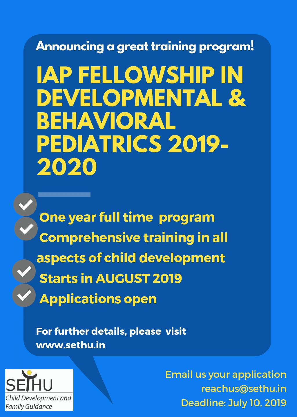 IAP Fellowship in Developmental and Behavioural Pediatrics – Sethu